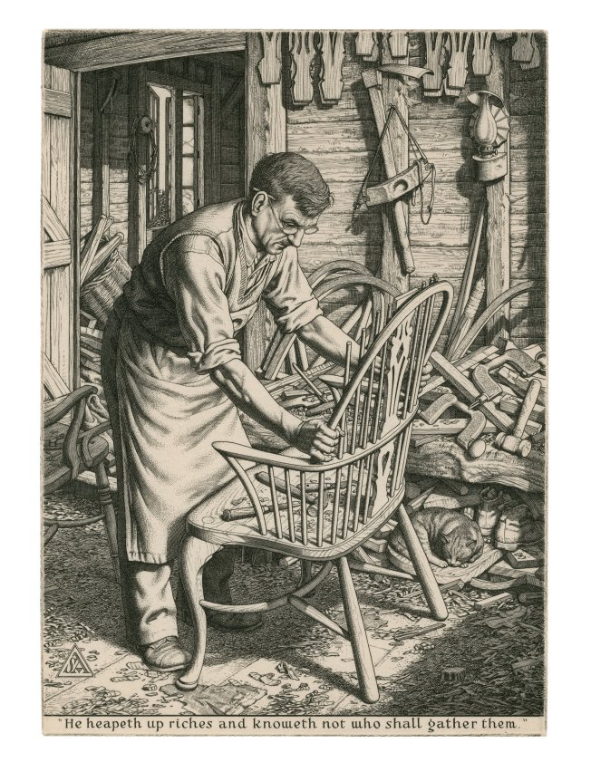 "241. ""The Chair Maker"", engraving, 1944 [215 x 154 mm] Private Collection. © Stanley Anderson Estate"