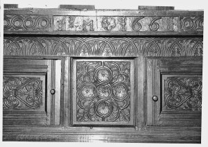 Figure 4. Detail of press cupboard, dated 1661. Made for John and Mary Philipson of Causeway House Farm, Applethwaite.